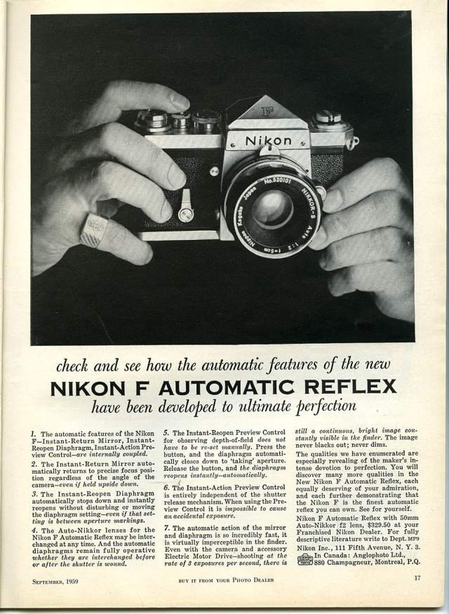 Nikon F old advertising
