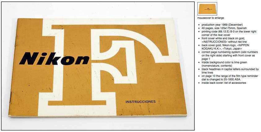 Instrucciones en español de 1969